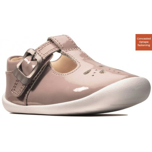 PINK PATENT - CONCEALED VELCRO FASTENING