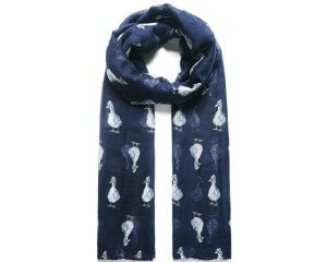 Fable Navy Quackers Duck Print Scarf 95074