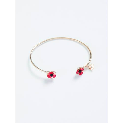 Fable Enamelled Poppy Brass Bangle 61332