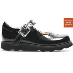 BLACK PATENT - CONCEALED VELCRO FASTENING