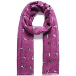 Fable Purple Woodland Animal Print Scarf 95076