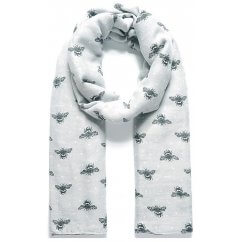 Fable Grey Bumblebee Print Scarf 95077